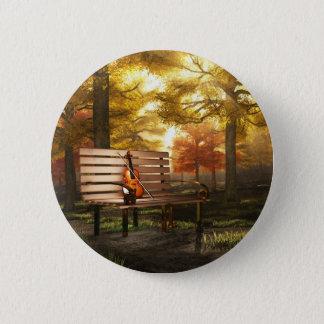Violin in autumnal park 2 inch round button
