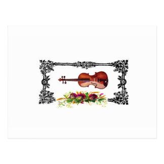 violin in box of flowers postcard
