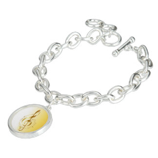 Violin key charm bracelet