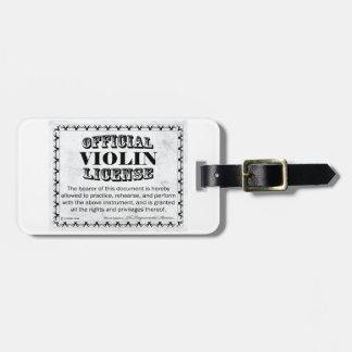 Violin License Luggage Tag