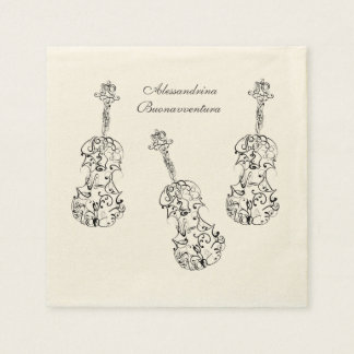 Violin Line Drawing Customizable Name Paper Napkins