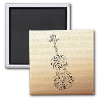 Violin Line Drawing on Bach Music Manuscript Square Magnet