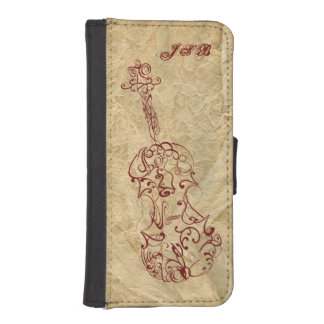 Violin LIne Drawing on Old Paper Customizable iPhone SE/5/5s Wallet Case