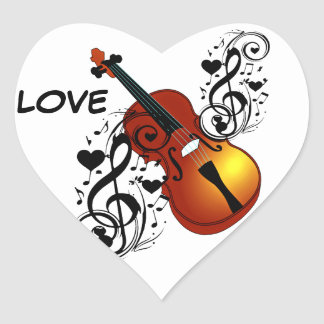 Violin,Lover at Heart_ Heart Sticker