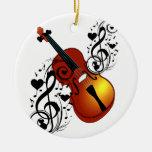Violin,Lover at Heart_ Round Ceramic Ornament