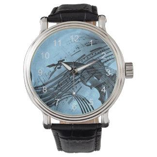 Violin Music Design in Light Blue Wristwatches