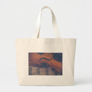 Violin Music Instrument Classic Musical Instrument Large Tote Bag