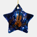 Violin on Christmas Blue Baubles Ceramic Star Ornament