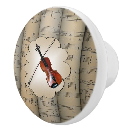Violin On Cloud ~ Rolled Sheet Music Background ~ Ceramic Knob
