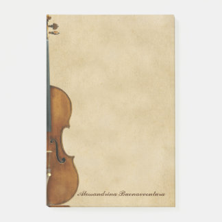 Violin on Parchment Look Customizable Name Post-it Notes