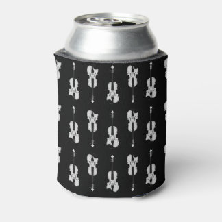 Violin Pattern - Black and White Can Cooler