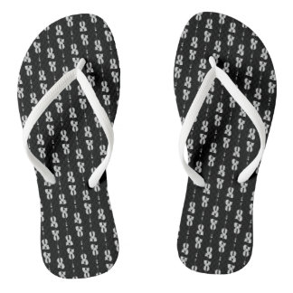 Violin Pattern - Black and White Flip Flops