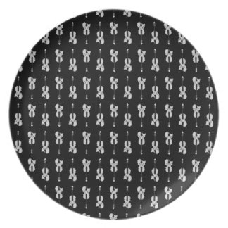 Violin Pattern - Black and White Plate