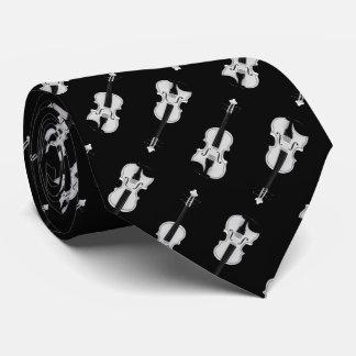 Violin Pattern - Black and White Tie