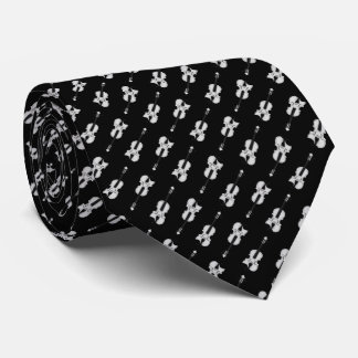 Violin Pattern - Black and White Tie