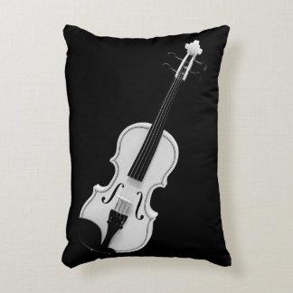 Violin Portrait - Black and White Photograph Accent Pillow