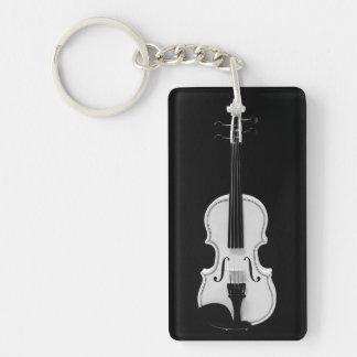 Violin Portrait - Black and White Photograph Keychain