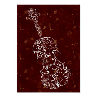 Violin Scrawl White on Deep Red Large Speckles Poster
