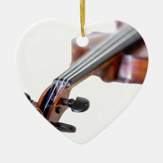 Violin scroll ceramic heart ornament