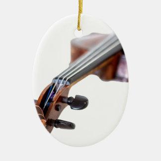 Violin scroll ceramic oval ornament