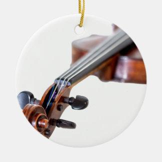 Violin scroll round ceramic ornament
