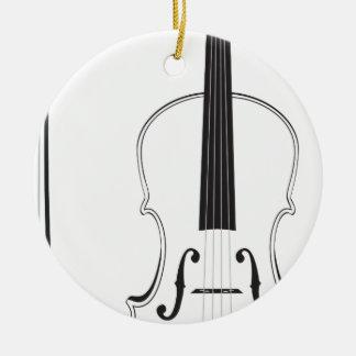 Violin Silhouette Ceramic Ornament