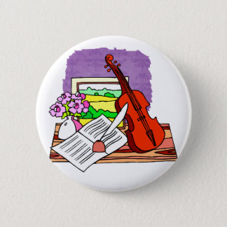 Violin Still Life with music graphic design 2 Inch Round Button