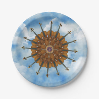 Violin Sunflower in Cloudy Blue Sky 7 Inch Paper Plate
