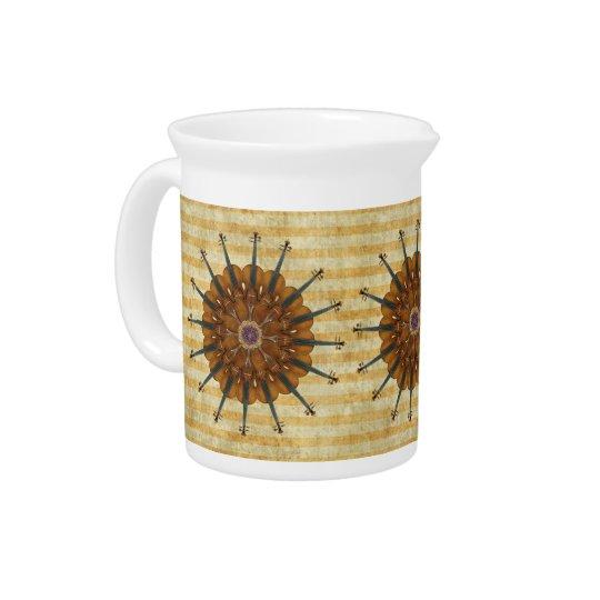 Violin Sunflowers on Golden Stripes Creamer Pitcher