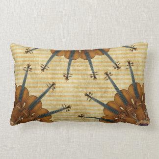 Violin Sunflowers on Golden Stripes Lumbar Pillow