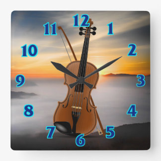 Violin Sunset Square Wall Clock