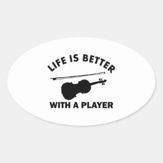 Violin vector designs oval sticker