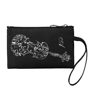 Violin White Line Drawing, Customizable Initial Coin Purses