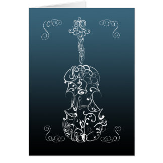 Violin White Line Drawing on Blue Card