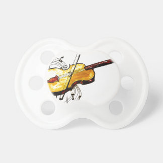 Violin with Notes Sketch Baby Pacifiers