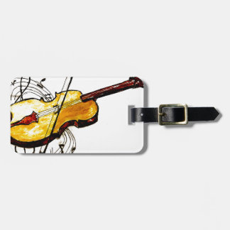 Violin with Notes Sketch Luggage Tag