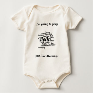 Violin Word Cloud Black Text Baby Bodysuit