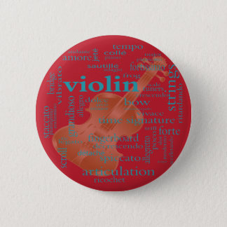 violin word cloud graphic desing by Artinspired 2 Inch Round Button