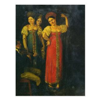 Violinist and three women dancing postcard