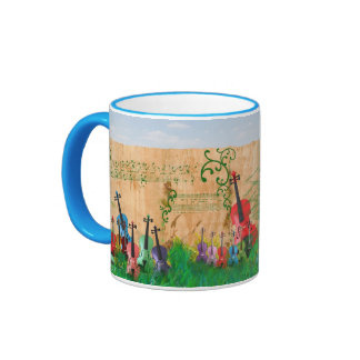 Violins Colourfully All In A Row Ringer Mug