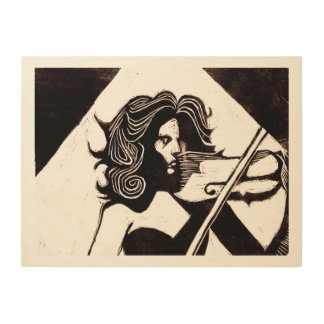Violinst Music Lovers 24 x 18 Wood Wall Art Wood Print