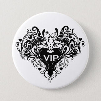VIP Black 3 Inch Round Button