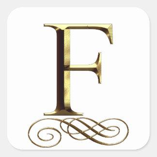 "VIP Gold ""F"" monogram Square Sticker"