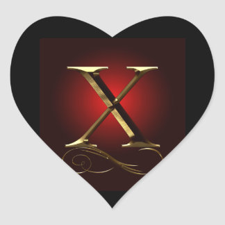 """VIP Gold """"X"""" monogram in red and black Heart Sticker"""