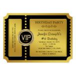"VIP Golden Ticket Birthday Party 5"" X 7"" Invitation Card"