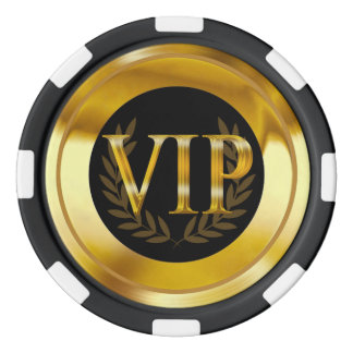 VIP Laurel Wreath Las Vegas gold black Poker Chips Set