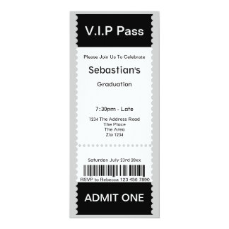 "VIP Pass Graduation Party Admission Ticket 4"" X 9.25"" Invitation Card"