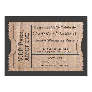"VIP Pass House Warming Cardboard Themed Ticket 5"" X 7"" Invitation Card"