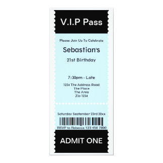 "VIP Pass Party Admission Ticket 4"" X 9.25"" Invitation Card"