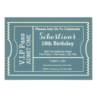 "VIP Pass Party Admission Ticket 5"" X 7"" Invitation Card"